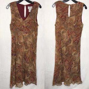 VTG Papèll Boutique Beaded Silk Midi Shift Dress
